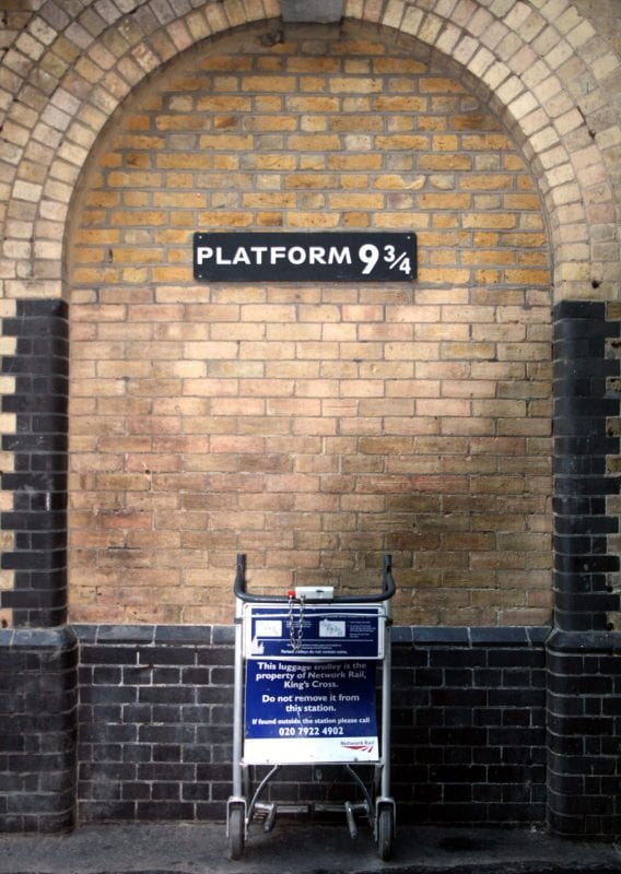 Carrito de Harry Potter en el anden 9 y 3/4 en King Cross