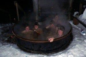 Baño en una sauna exterior