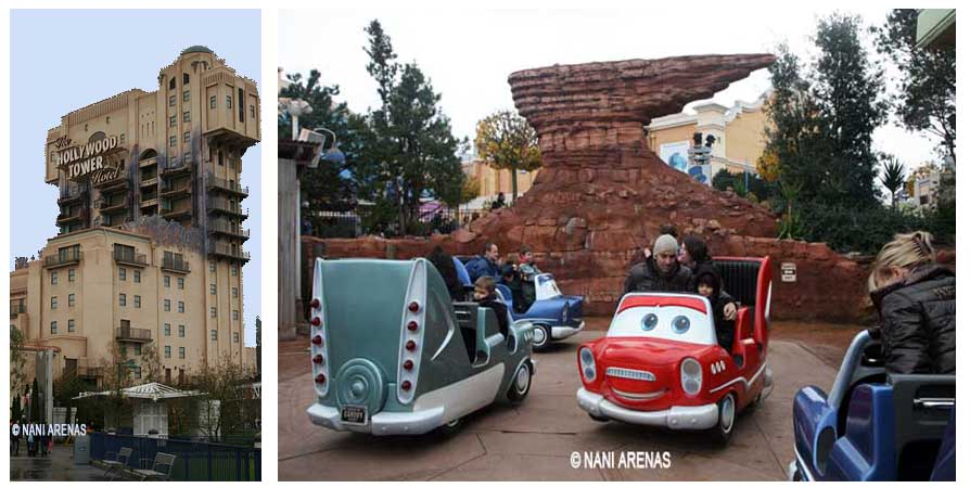 Tower of terror y Cars race Rallye, en el parque Walt Disney Studios