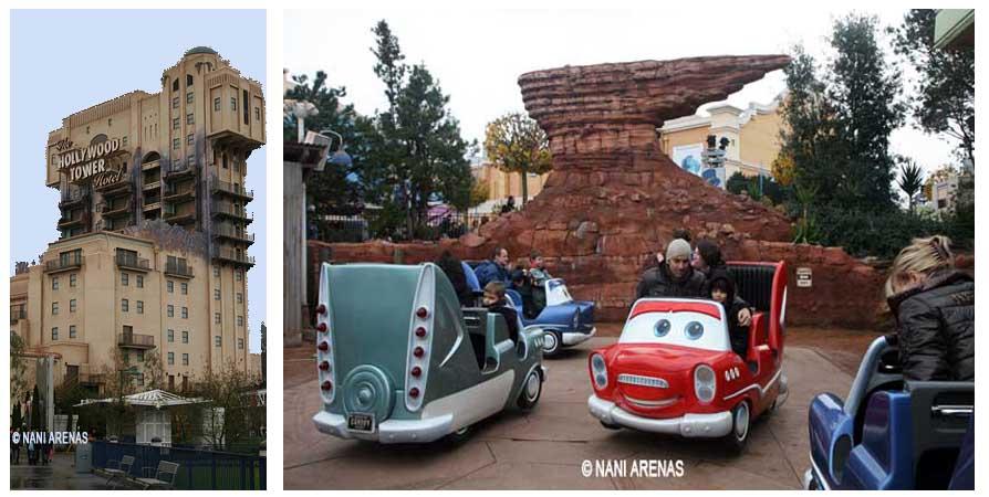 Tower of terror y Cars race Rallye, en el parque Walt Disney Studios