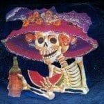 Día de muertos con flores, difuntos, esqueletos de México y calabazas de Halloween