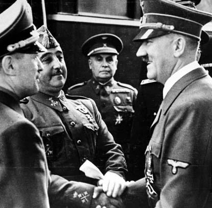 Foto histórica de un encuentro entre Hitler y Franco