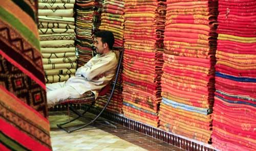 Puesto de alfombras en la Medina de Marrakech