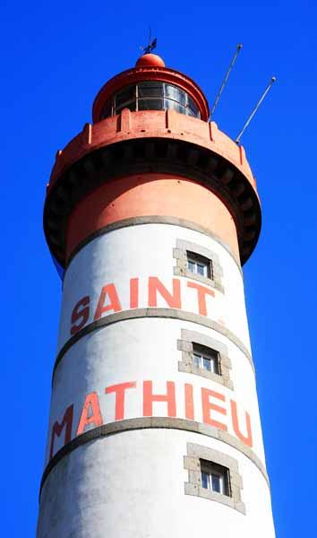 Detalle del faro de Saint Mathieu en la Bretaña francesa