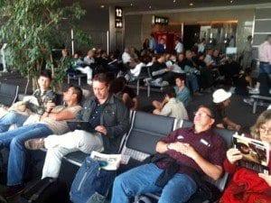 Pasajeros en el aeropuerto de Buenos Aires