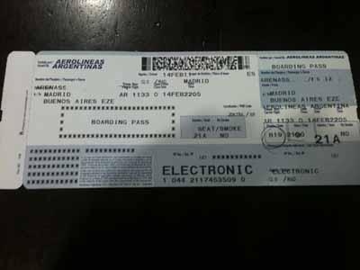 Tarjeta de embarque Madrid Buenos Aires