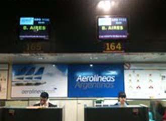 Mostrador de factutracion de aerolineas argentinas en la T2 de Madrid