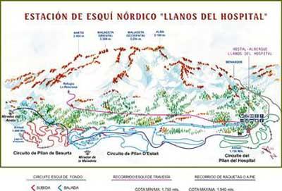 Plano de pistas de esquí de fondo en los Llanos del Hospital