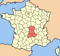 mapa de la region de Auvernia en Francia
