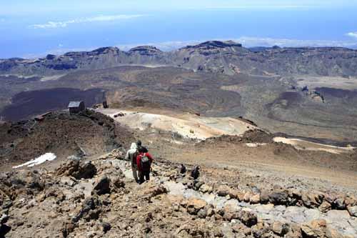 Panoramica del descenso desde el cráter del Teide