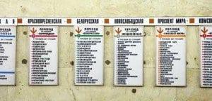 Estaciones del metro de Moscú en cirílico