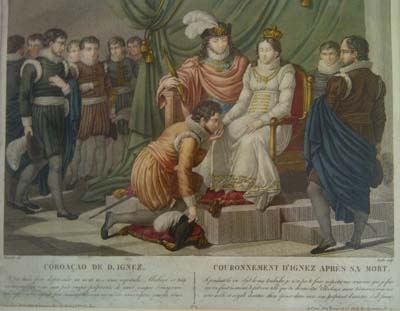 Grabado de la coronación de Inés de Castro expuesto en la Quinta das Lágrimas