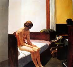 Mujer en un hotel solitaria hopper