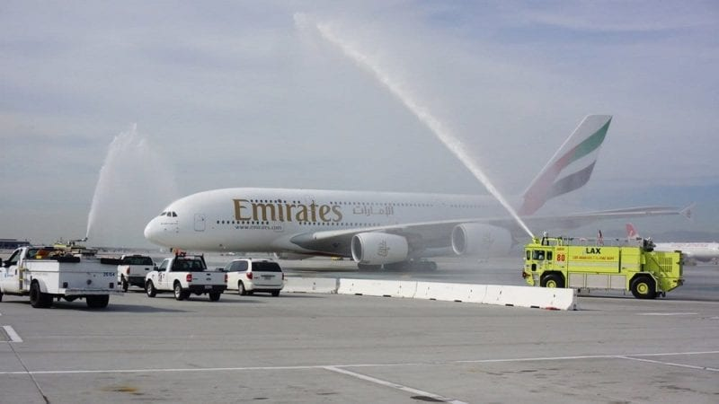 A Water Cannon Salute Welcomes the Emirates' A380 in Los Angeles[1]