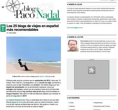captura post paco nadal mejors blogs viajes