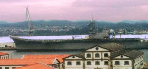 Ultima imagen del portaaviones Príncipe de Asturias en Ferrol antes de su desguace