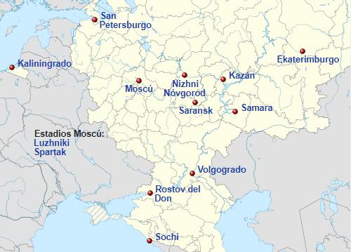 Mapa ciudades sede del Mundial Rusia 2018