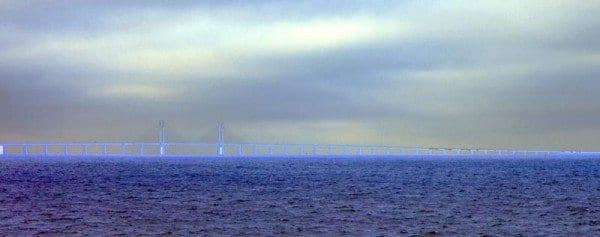 Detalle del puente que une Dinamarca con Suecia