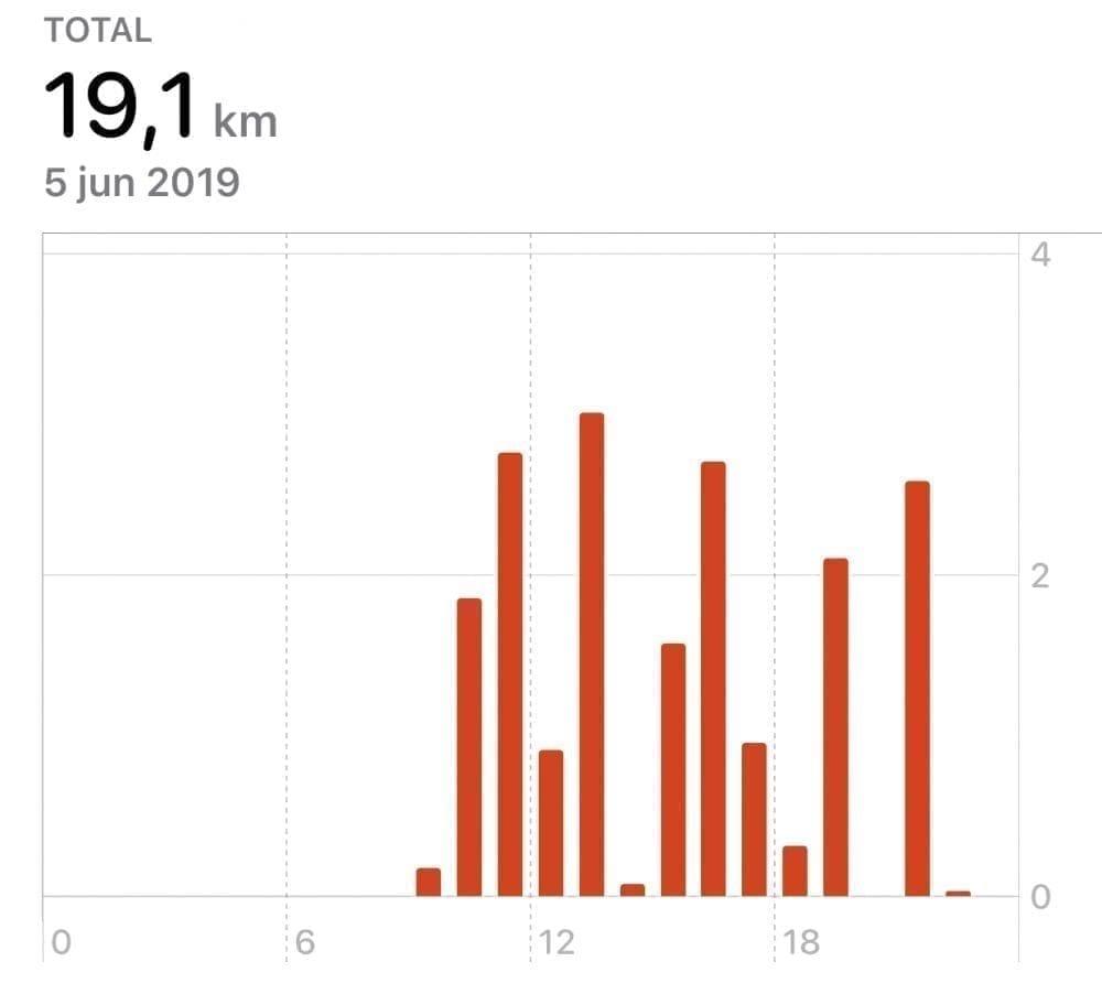 Cuadro de kilómetros recorridos en un día de viaje