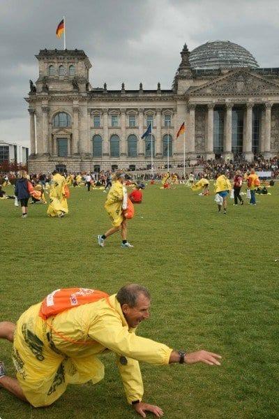 Entrenamiento antes de la salida ante el Reichstaat en Berlin