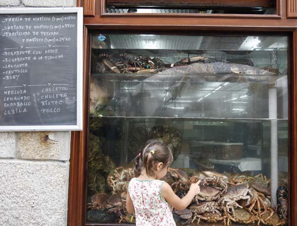 Restaurante con marisco, típico de Galicia