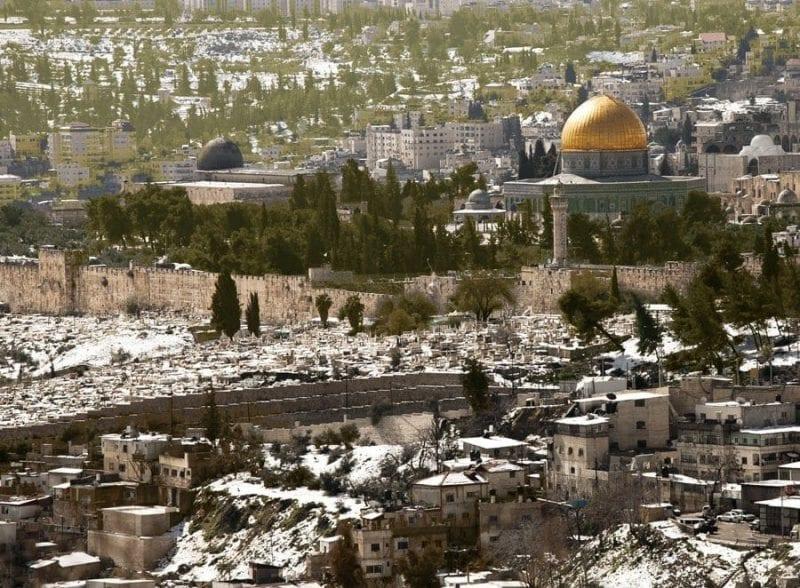 Panorámica de jerusalen nevada desde el monte Skopos