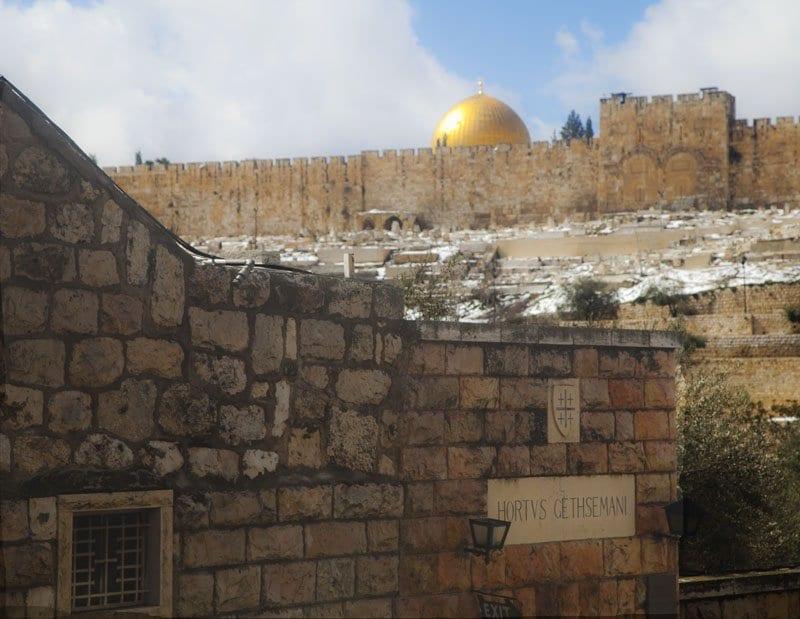 Viata de la cúpula de Al Aqsa desde Getsemaní