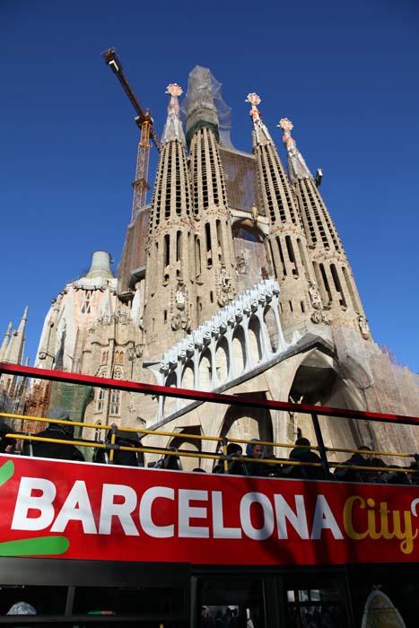 Panorámica de la fachada de Subirats en La Sagrada Familia de Barcelona