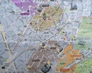 Plano del plano del bario del Sablon en Bruselas