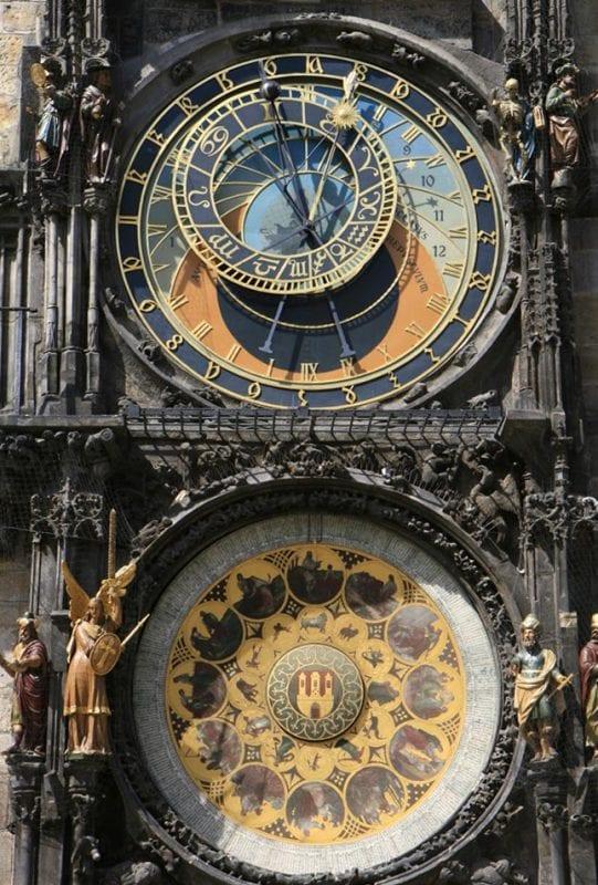 Primer plano del reloj del Ayuntamiento de Praga