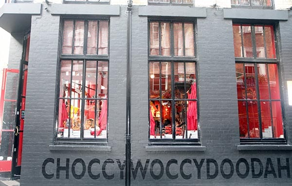 Fachada de la chocolatería Choccywoccydoodah