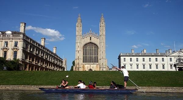 Back del King's college con su capilla gótica , la más monumental de Inglaterra