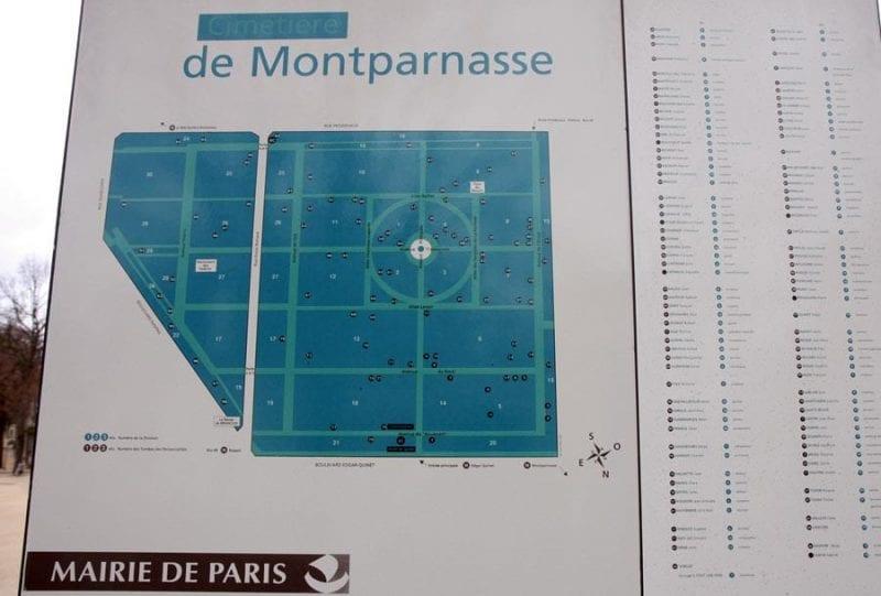 Plano de tumbas a la entrada de Montparnasse