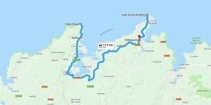 Mapa de la ruta desde Cabo Ortegal a Estaca de Bares