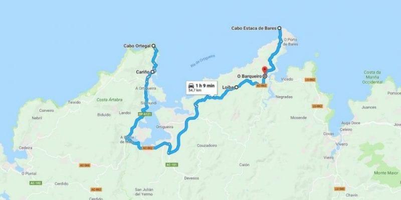 Mapa De La Ruta Desde Cabo Ortegal A Estaca De Bares La Viajera