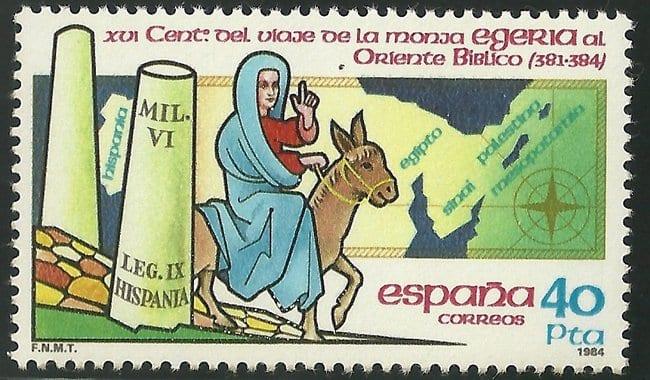 Sello emitido en 1984 psra conmemorar el viaje de Egeria