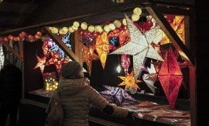 Decoración navideña en un mercadillo en Munich