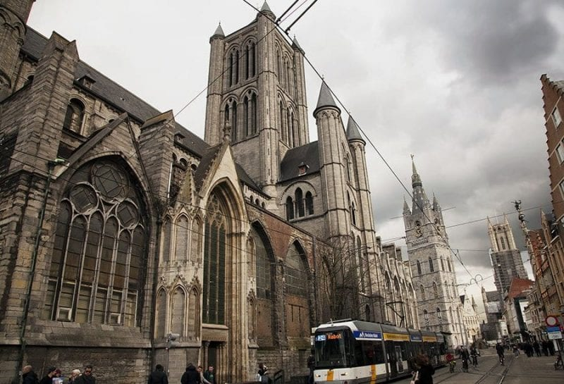Vista de las tres torres de Gante
