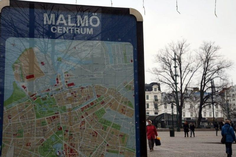 Plano de Malmö en una de las calles