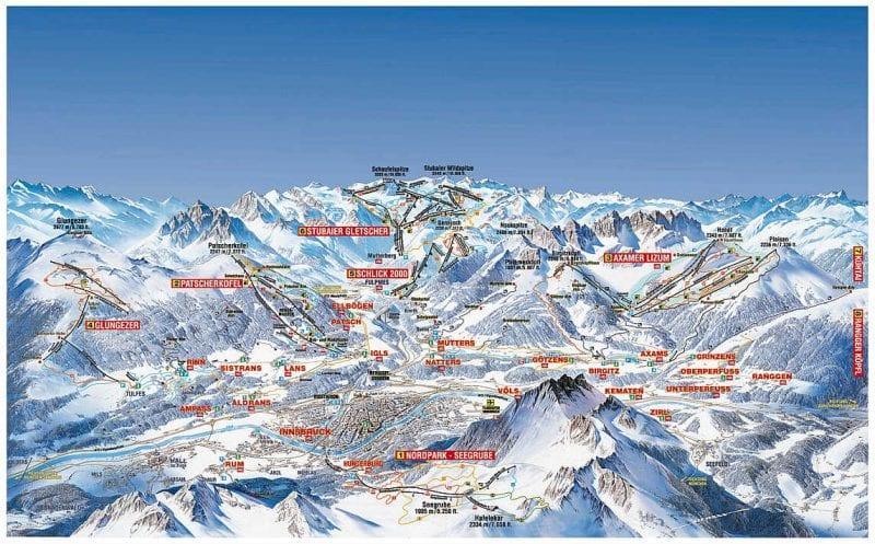 Mapa de las cumbres de Innsbruck