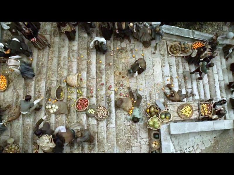 Una calle de Girona decorada para el rodaje