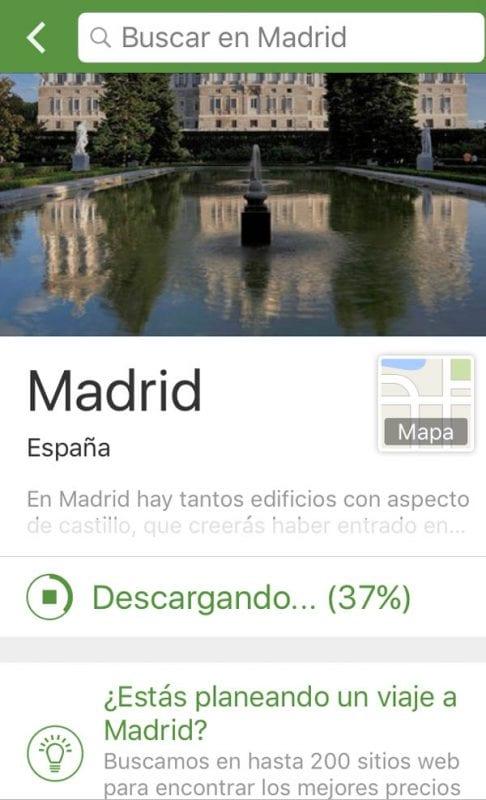 Captura de la aplicación de TripAdvisor