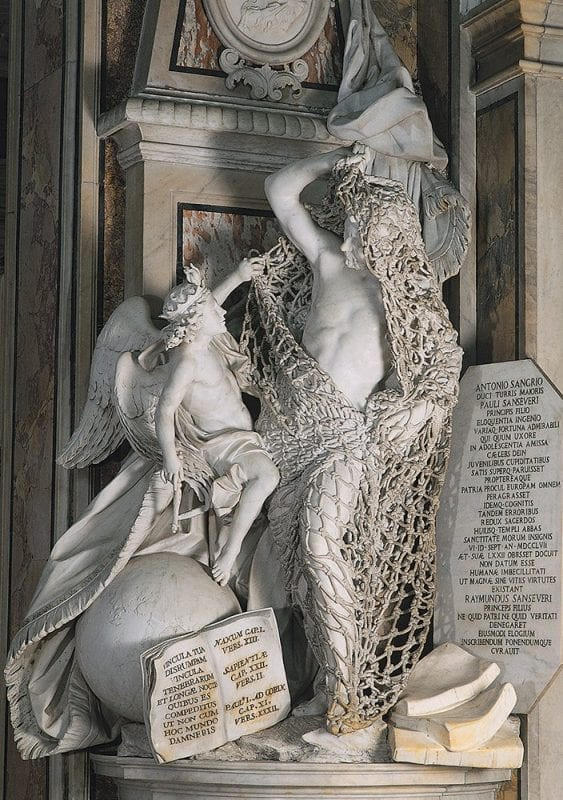 Escultura del hombre con la red en la capilla de San Severo