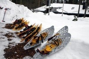 Primer plano de unas raquetas de nieve