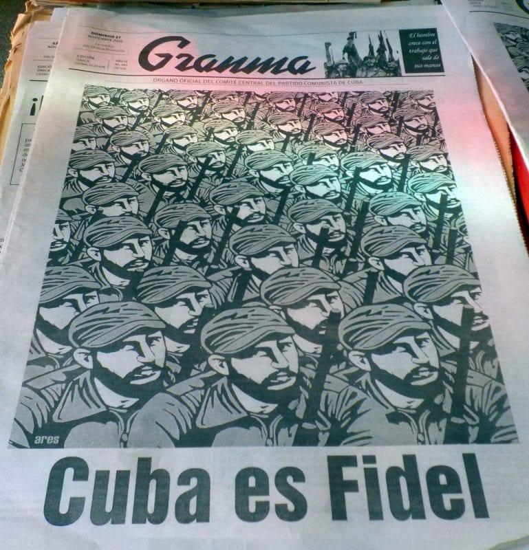 Portada del Gramma el día de la muerte de Fidel Castro