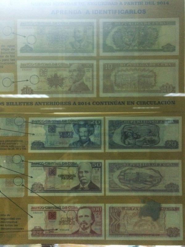 Carteles explicativos de la moneda cubana