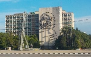 Rostro del Che en la plaza de la Revolución