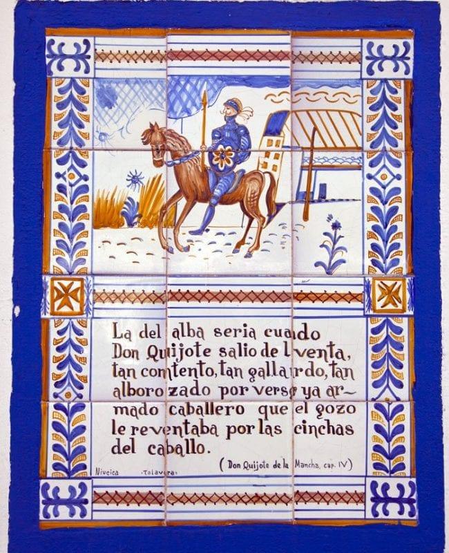 Pasaje del Quijote en la puerta de la venta de Puerto Lápice