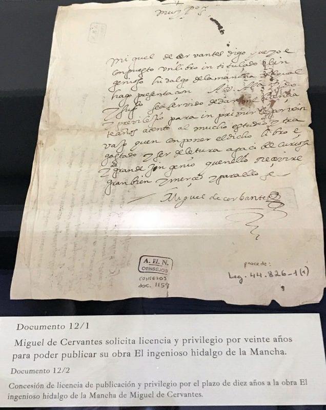 Licencia para la publicación del Quijote manuscrita por Cervantes