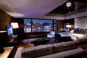 Habitación con vistas al skyline de Hong Kong